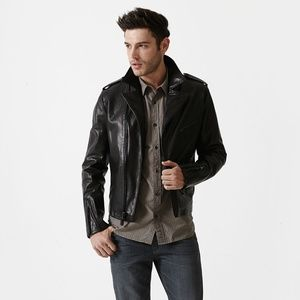 7 For All Mankind Black Leather Moto Jacket